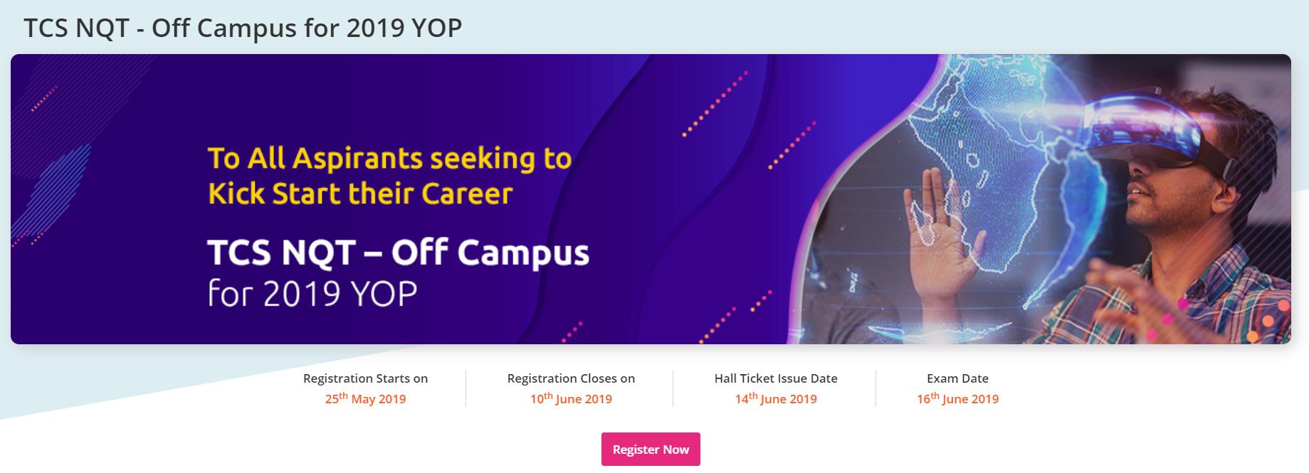 tcs off campus drive 2019 or tcs nqt 2019
