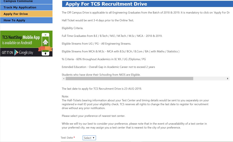 TCS Off Campus drive for 2019, 2018 Batch Passouts (TCS NQT off