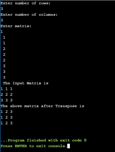 transpose of a matrix output