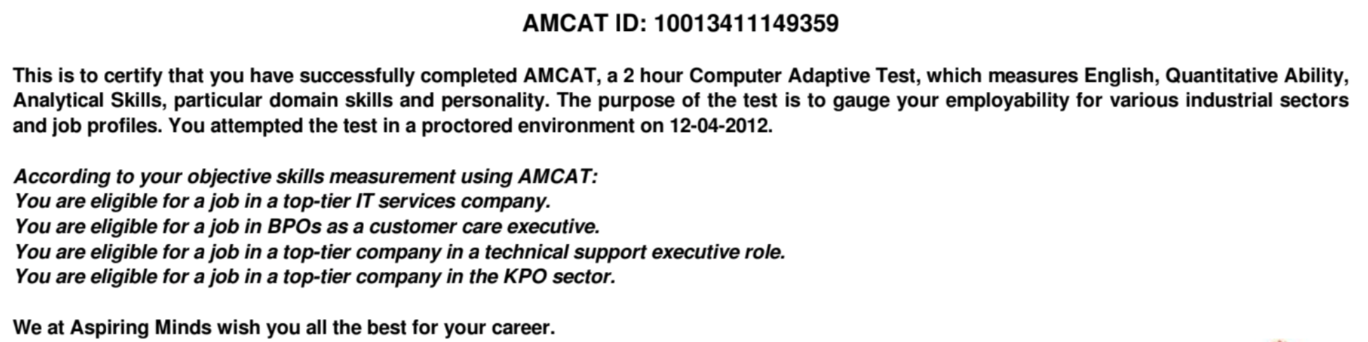 amcat results - eligibility report