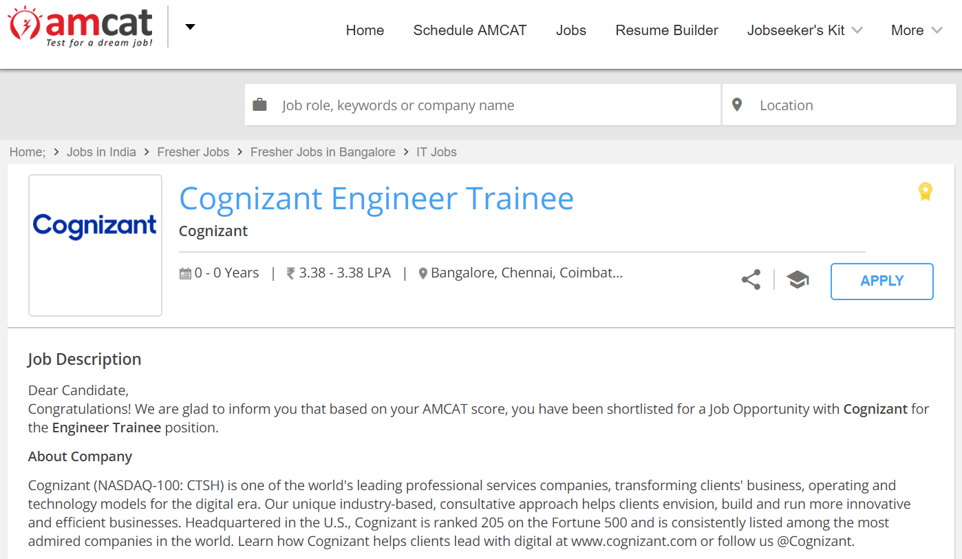Cognizant off campus drive for programmer analyst trainee
