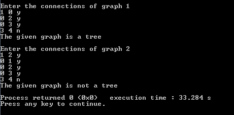 check if the given graph is a tree or not
