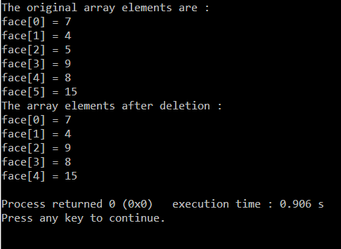 Deletion of element in arrays in C/C++