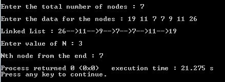 find nth node from the end