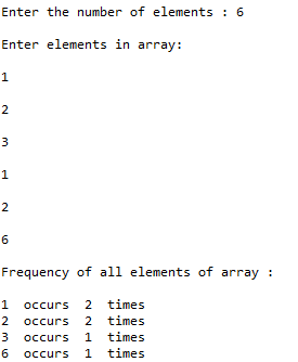 frequency of each element of an array