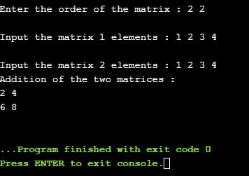 Program to perform matrix addition, matrix subtraction, matrix