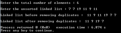 remove duplicates from a linked list - unsorted