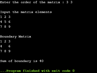 sum of boundary elements of a matrix