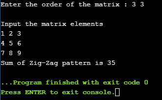 sum of elements in the zigzag sequence in a given matrix