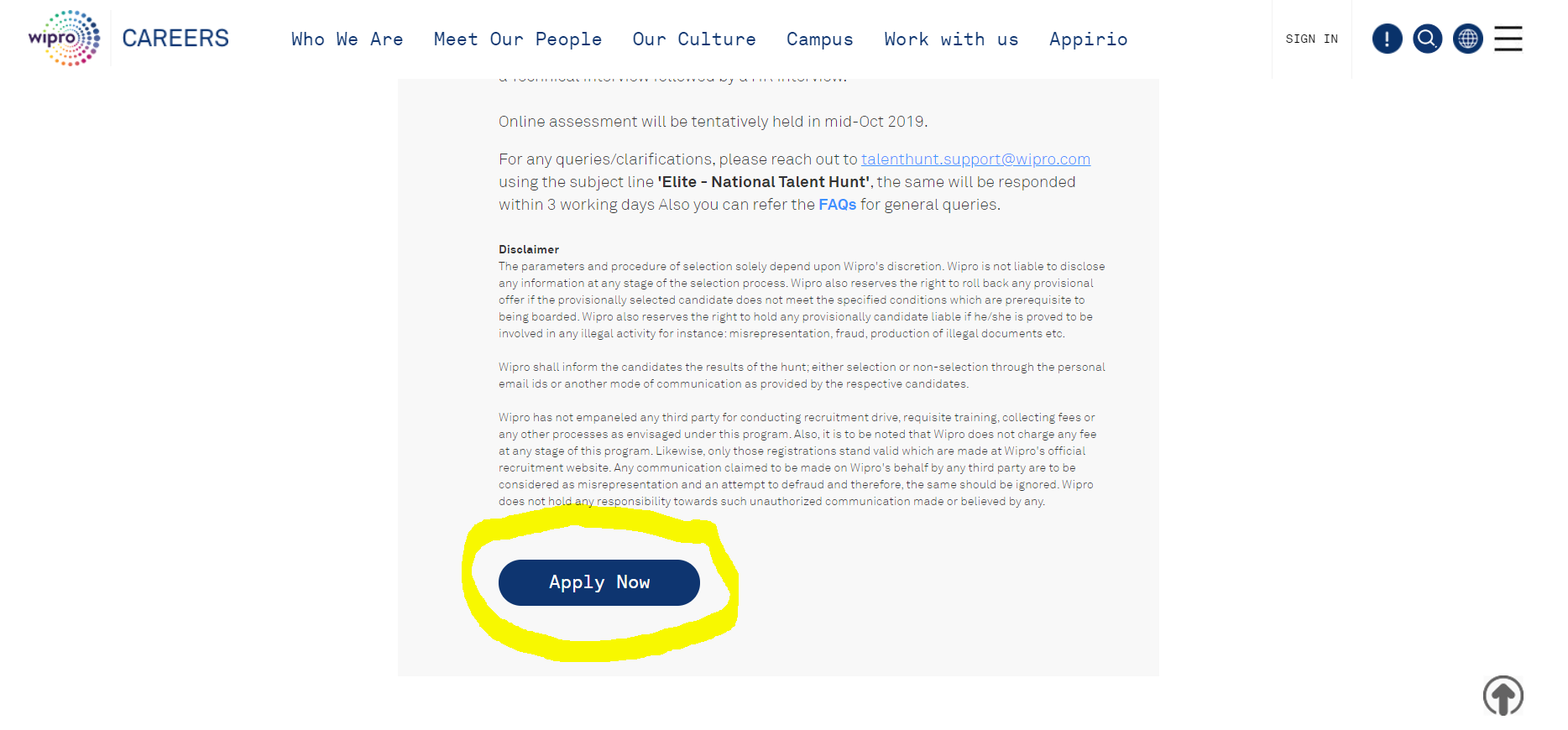 wipro national qualifier test application process