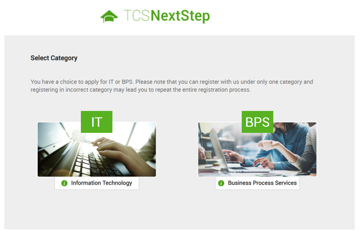 tcs next step registration process