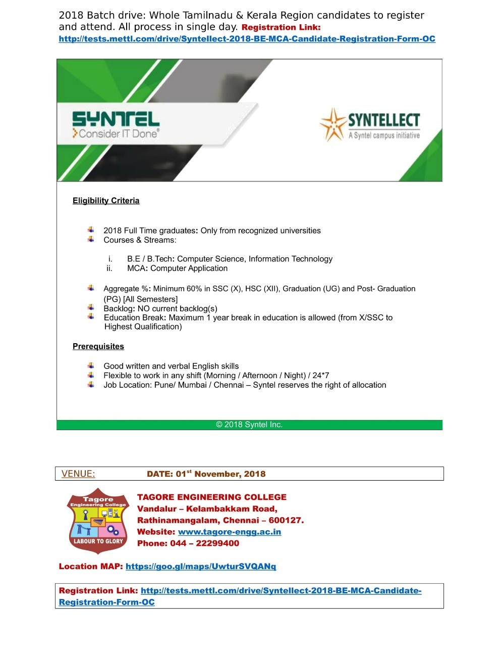 Syntel placement package