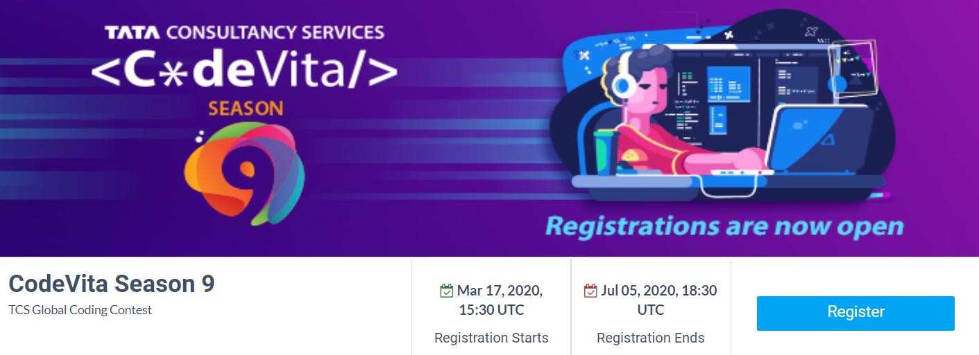 TCS CodeVita Registration 2020